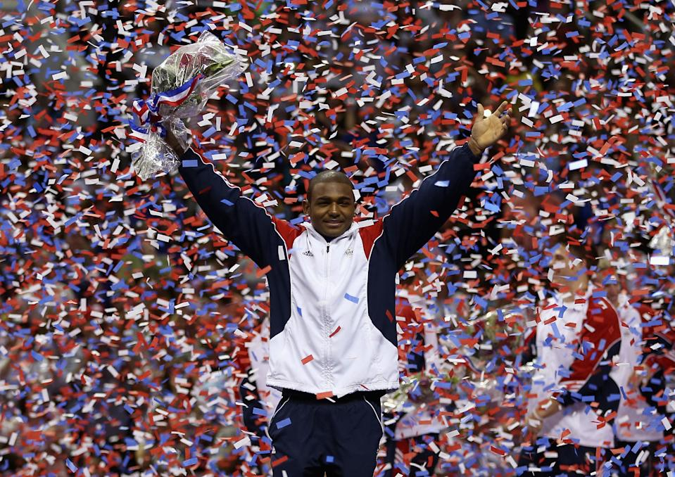 John Orozco celebrates in the confetti after being named to the U.S. gymnastic team at HP Pavilion on July 1 in San Jose, California. (Photo by Ezra Shaw/Getty Images)
