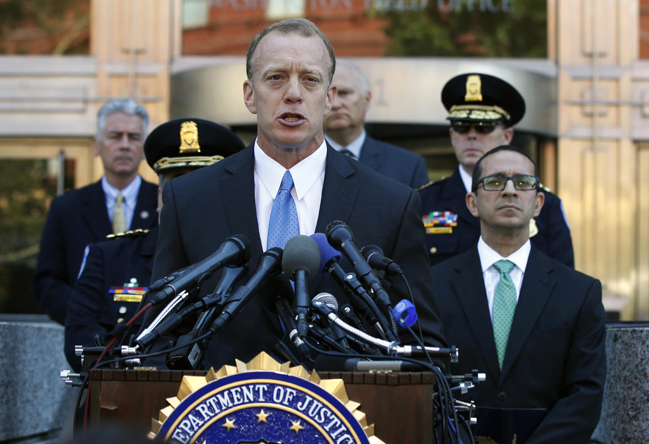 <p>Federal Bureau of Investigation Washington Field Office, Special Agent in Charge Timothy Slater, with FBI Washington Field Office Assistant Director in Charge Andrew Vale, right, speaks to reporters outside the FBI Washington Field Office, Wednesday, June 21, 2017 in Washington, during a news conference about the investigative findings to date in the shooting that occurred at Eugene Simpson Stadium Park in Alexandria, Va. on Wednesday, June 14, 2017. (Photo: Manuel Balce Ceneta/AP) </p>