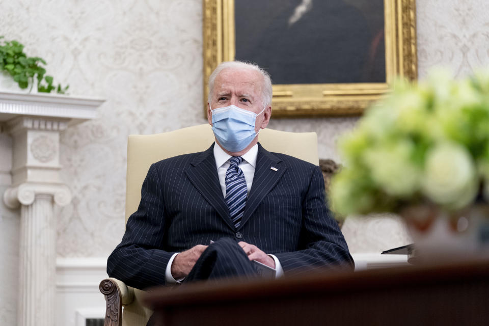President Joe Biden meets with members of congress to discuss his jobs plan in the Oval Office of the White House in Washington, Monday, April 19, 2021. (AP Photo/Andrew Harnik)