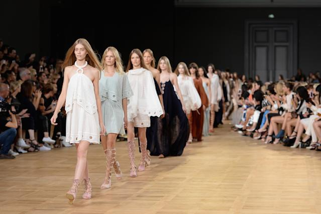 The finale of feminine frocks at the Chloé spring/summer 2015 show on Sept. 28, 2014, in Paris. (Photo: Getty Images)