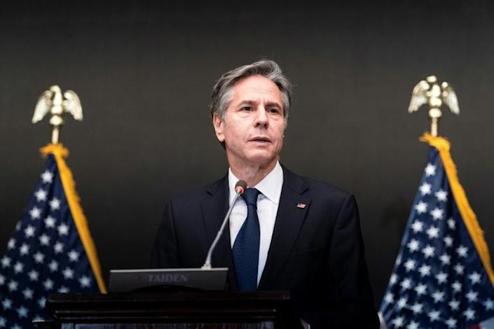 US Secretary of State Antony Blinken speaks in the Jordanian capital Amman on May 26, his last stop on a Middle East tour