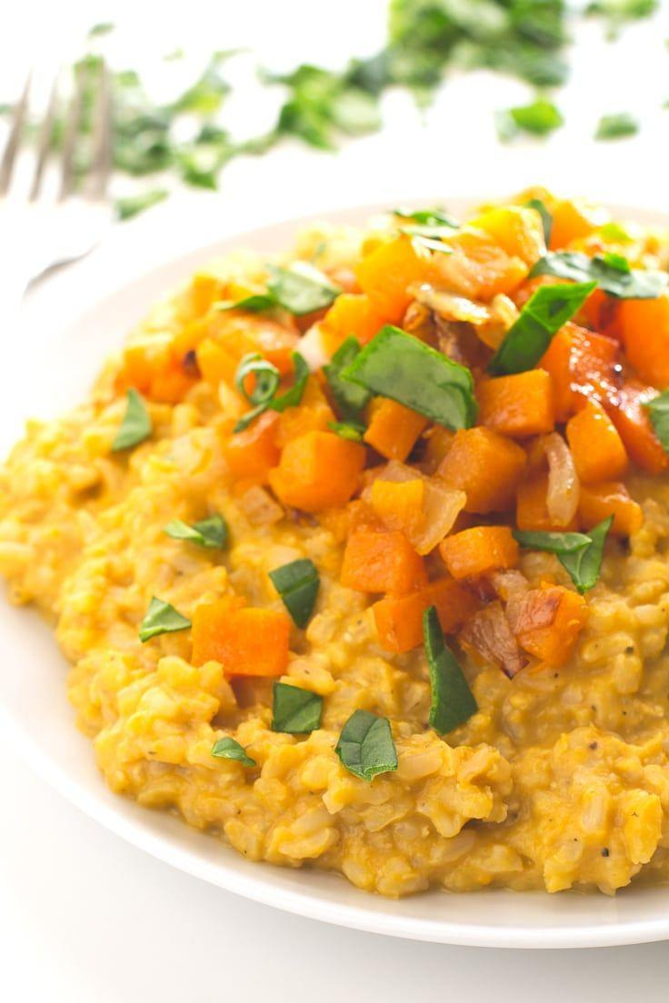"<p>This creamy, dreamy risotto is made with a base of brown rice, but it's the bright-colored squash (and vegan secret ingredient, nutritional yeast) that gives it the fab flavor.</p><p><em><a href=""https://simpleveganblog.com/vegan-butternut-squash-risotto/"" rel=""nofollow noopener"" target=""_blank"" data-ylk=""slk:Get the recipe from Simple Vegan Blog »"" class=""link rapid-noclick-resp"">Get the recipe from Simple Vegan Blog »</a></em></p>"