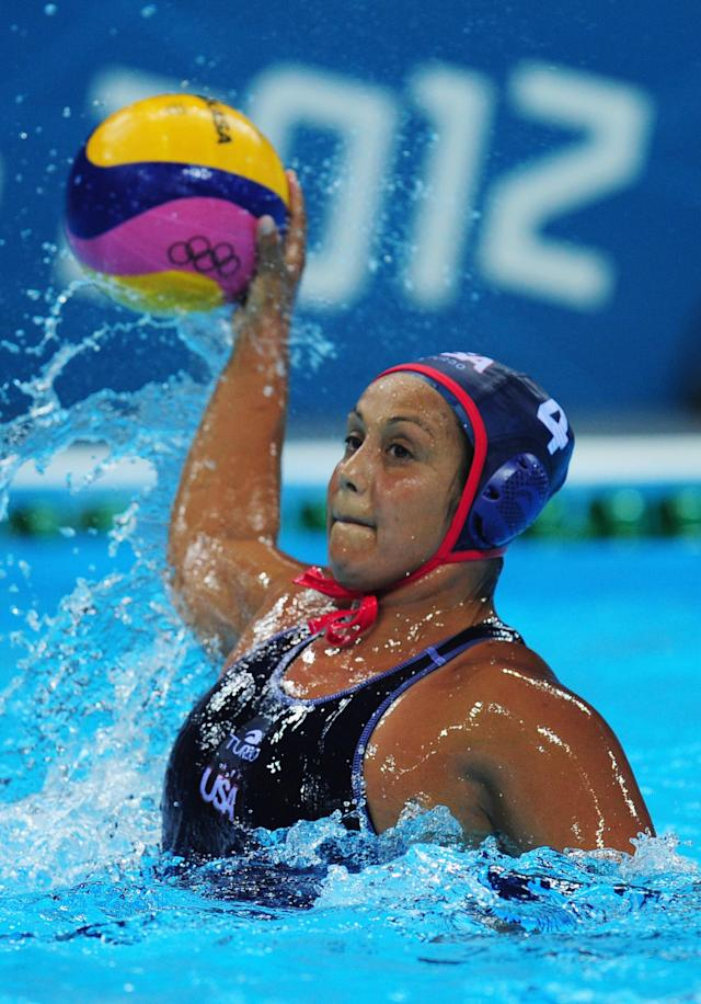 LONDON, ENGLAND - JULY 30: Brenda Villa of the United States looks for a pass during the Women's Water Polo Preliminary match between Hungary and the United States on Day 3 of the London 2012 Olympic Games at Water Polo Arena on July 30, 2012 in London, England. (Photo by Stu Forster/Getty Images)