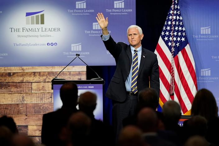 Vice President Mike Pence after speaking to The FAMiLY Leader nonprofit organization on Oct. 1, 2020, in Des Moines, Iowa.