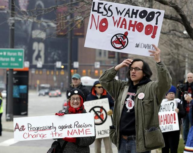 Fans protest Chief Wahoo before the Cleveland Indians 2018 home opener against the Kansas City Royals. (AP)
