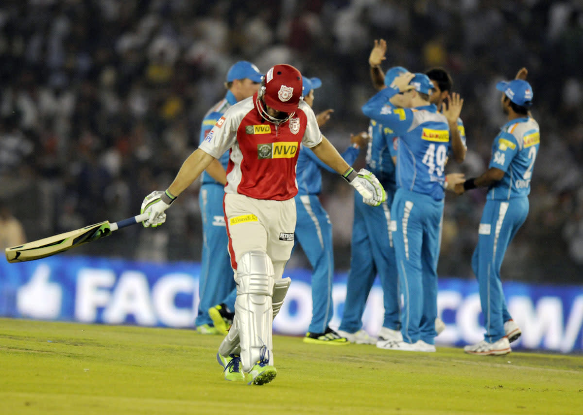 Adam Gilchrist captain of Kings XI Punjab walks back after getting out during match 29 of the Pepsi Indian Premier League between The Kings XI Punjab and the Pune Warriors held at the PCA Stadium, Mohali, India  on the 21st April 2013. (BCCI)