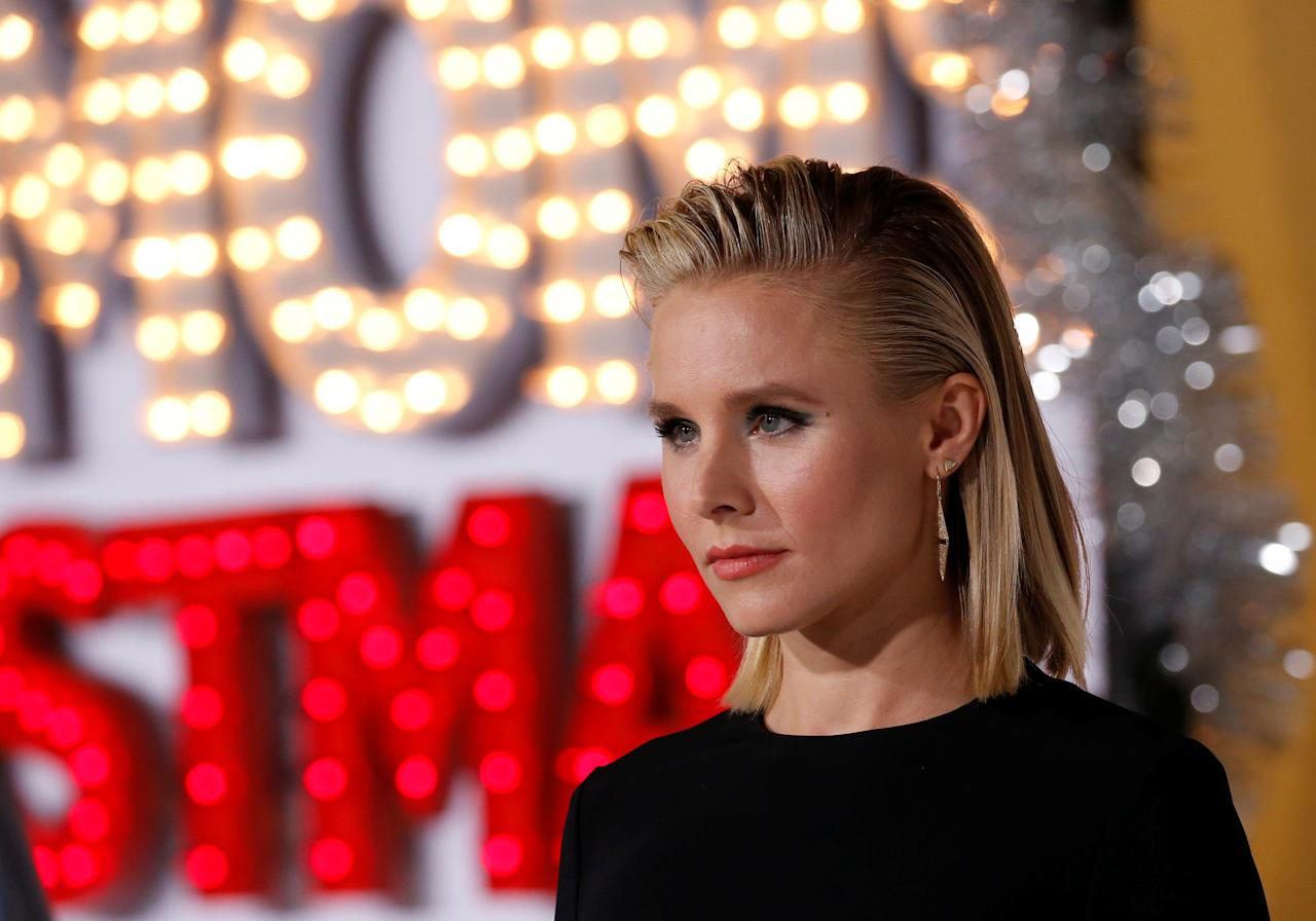 "Cast member Kristen Bell poses at the premiere for ""A Bad Moms Christmas"" in Los Angeles, California, U.S., October 30, 2017. REUTERS/Mario Anzuoni"