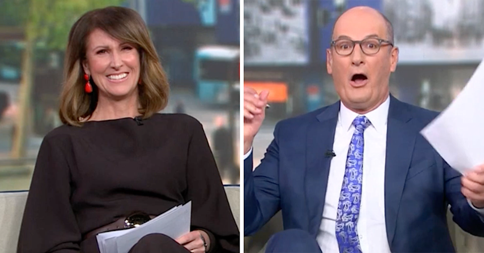 Sunrise hosts Nat Barr and Kochie looking shocked.