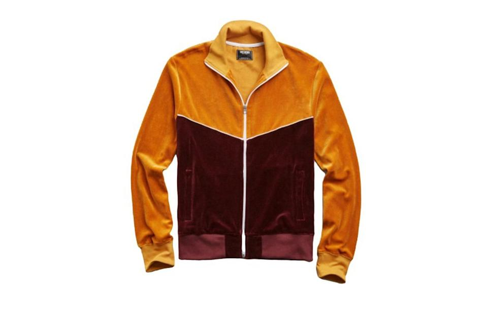 "$198, Todd Snyder. <a href=""https://www.toddsnyder.com/collections/sale/products/velour-track-jacket-mustard-1"" rel=""nofollow noopener"" target=""_blank"" data-ylk=""slk:Get it now!"" class=""link rapid-noclick-resp"">Get it now!</a>"