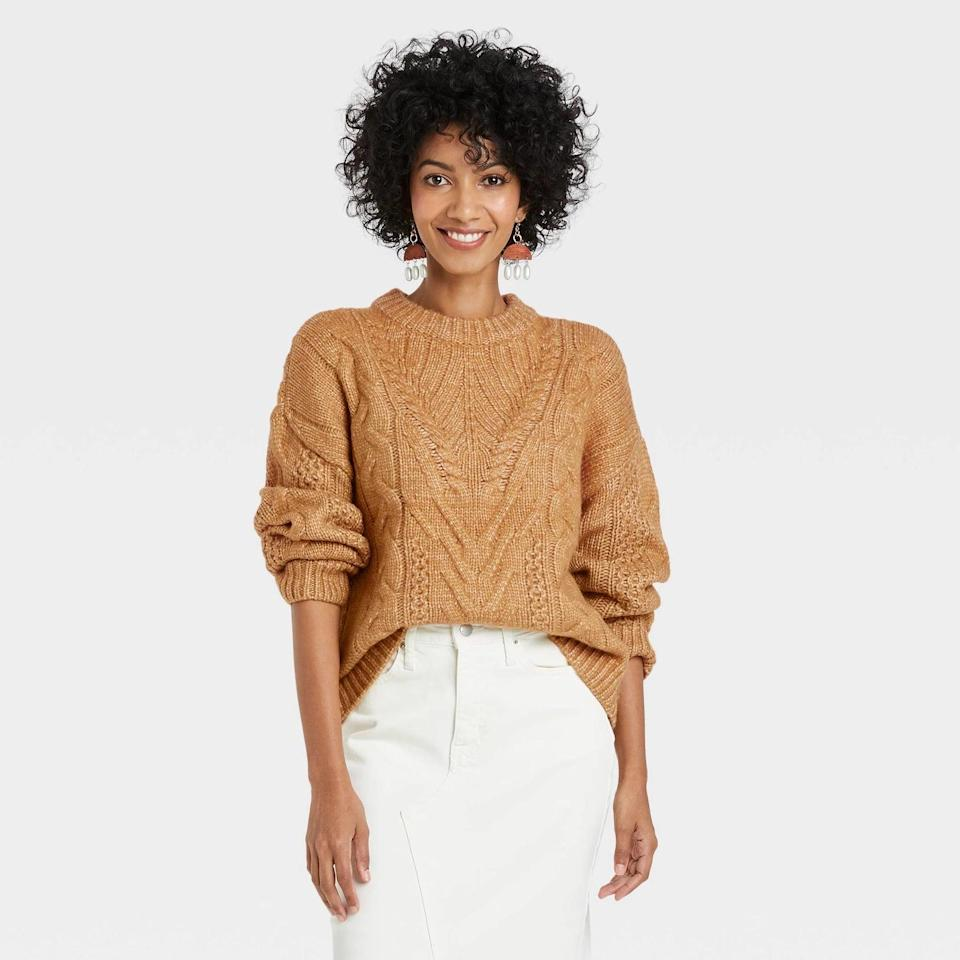 <p>A roomy <span>A New Day Women's Crewneck Cable Stitch Pullover Sweater</span> ($28) in any hue would look lovely tucked in joggers or soft lounge pants this fall.</p>