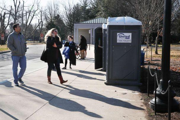 PHOTO: With the regular bathrooms closed during the government shutdown, tourists wait in line for port-a-potties while visiting the World War II Memorial, Dec. 26, 2018, in Washington. (Jacquelyn Martin/AP, FILE)