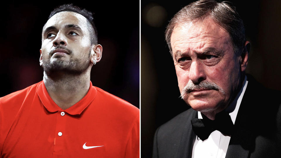 Aussie tennis icon John Newcombe (pictured right) at a gala and Nick Kyrgios (pictured left) looking frustrated.