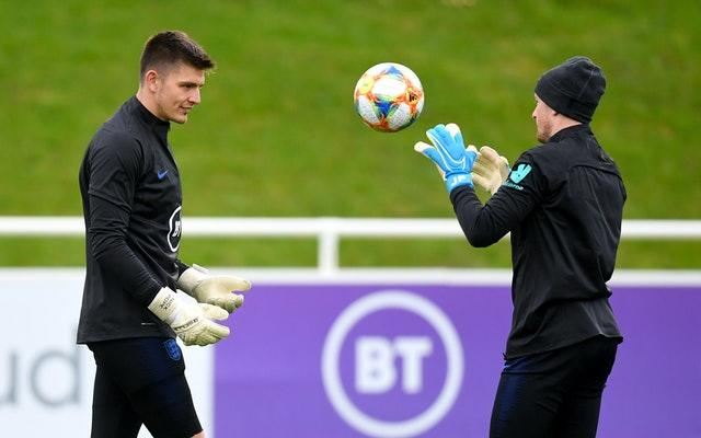 England goalkeepers Nick Pope and Jordan Pickford during training