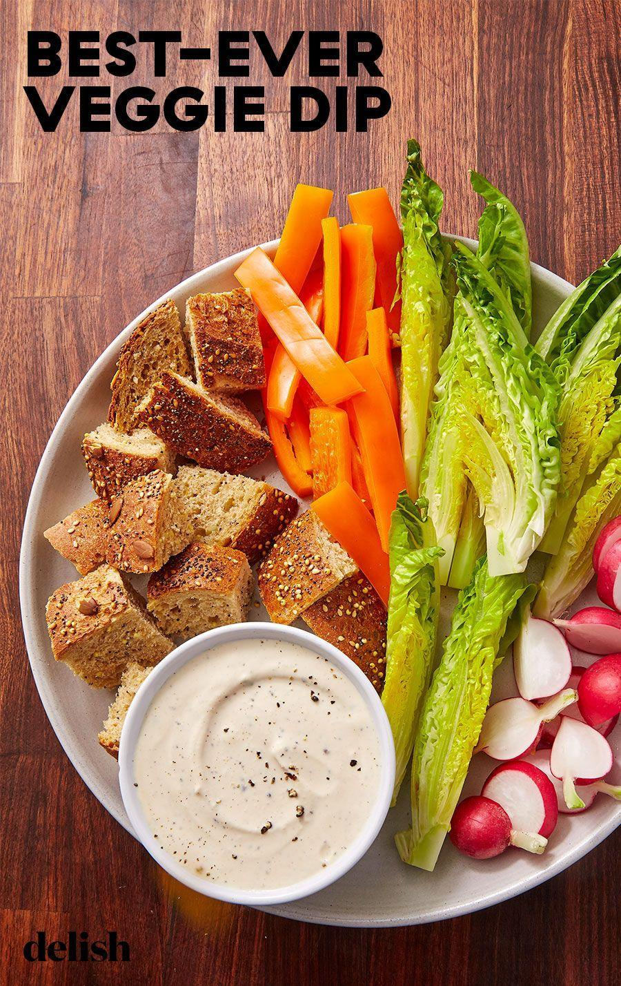 """<p>A simply delicious way to get your daily serving in.</p><p>Get the recipe from <a href=""""https://www.delish.com/cooking/recipe-ideas/a29540357/veggie-dip-recipe/"""" rel=""""nofollow noopener"""" target=""""_blank"""" data-ylk=""""slk:Delish"""" class=""""link rapid-noclick-resp"""">Delish</a>.</p>"""