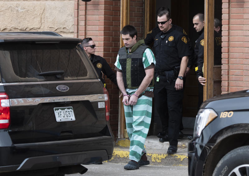 FILE - In this April 5, 2019 file photo Teller County Sheriff deputies lead Patrick Frazee out of the Teller County Courthouse in Cripple Creek, Colo. Frazee, has pleaded not guilty to a murder charge. Frazee entered the plea Friday, May 24, 2019, in the case involving the killing of Kelsey Berreth, who was last seen alive last year on Thanksgiving Day. Investigators have testified that Frazee's girlfriend told police he used a baseball bat to fatally beat Berreth, then burned her body and planned to dump the remains in a landfill or river. Berreth's body has not been found. (Christian Murdock/The Gazette via AP, File)