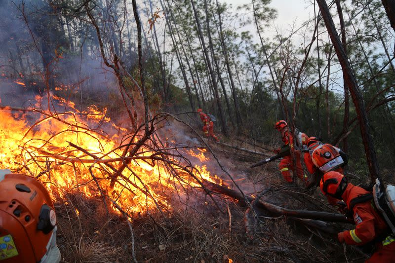 Firefighters work on extinguishing a forest fire in Liangshan
