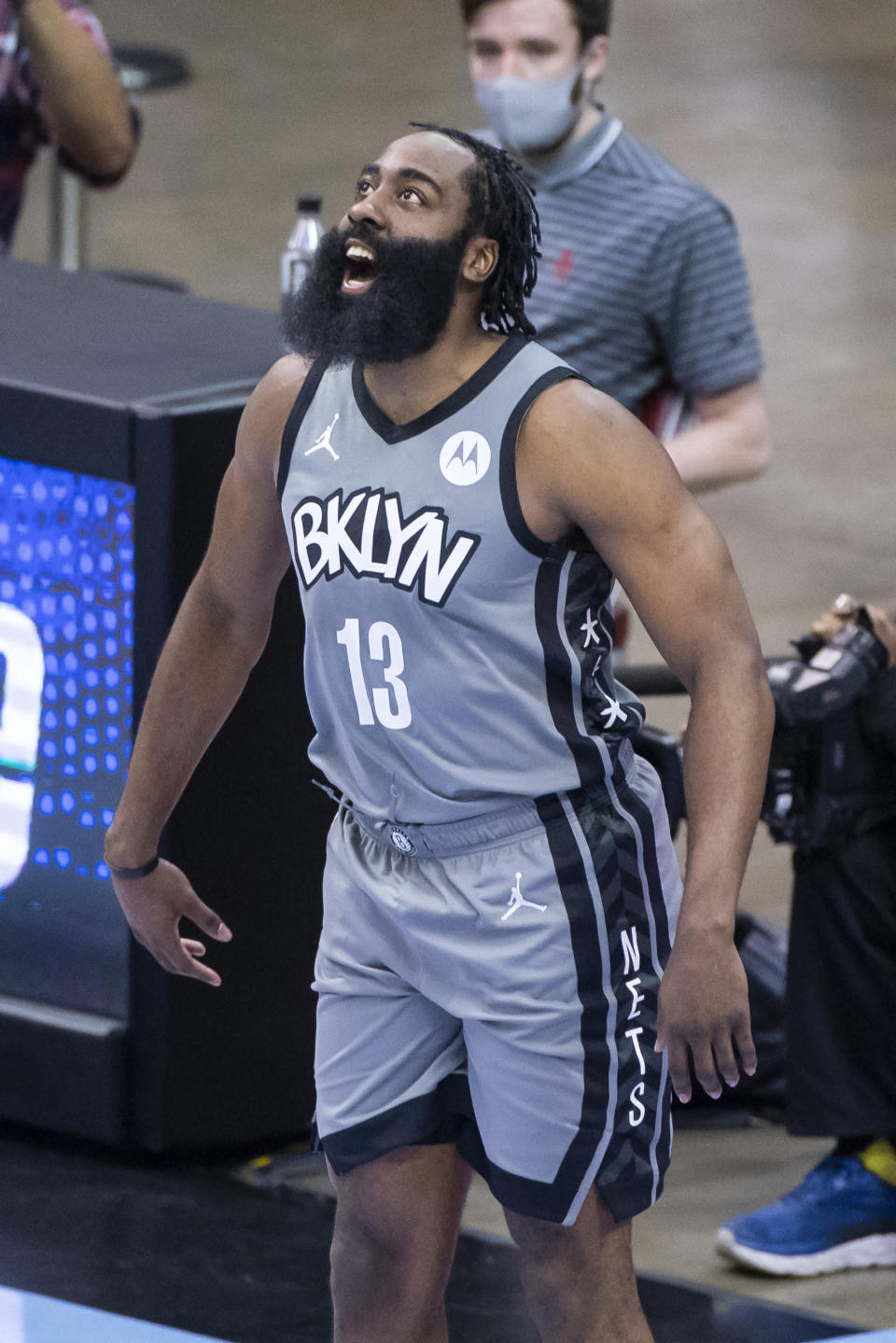 Brooklyn Nets guard James Harden (13) warms up before the first half of an NBA basketball game against the Houston Rockets Wednesday, March 3, 2021, in Houston. (Mark Mulligan/Houston Chronicle via AP)