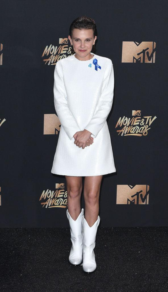 <p>Millie Bobby Brown supported the ACLU and GLAAD when she donned Calvin Klein to the MTV Awards. (Photo: Getty Images) </p>
