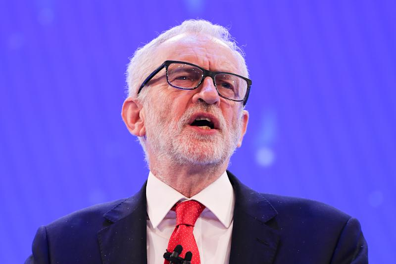 Leader of the Labour Party, Jeremy Corbyn makes a keynote political speech during the annual Confederation of British Industry (CBI) conference held in London. (Photo by Steve Taylor / SOPA Images/Sipa USA)