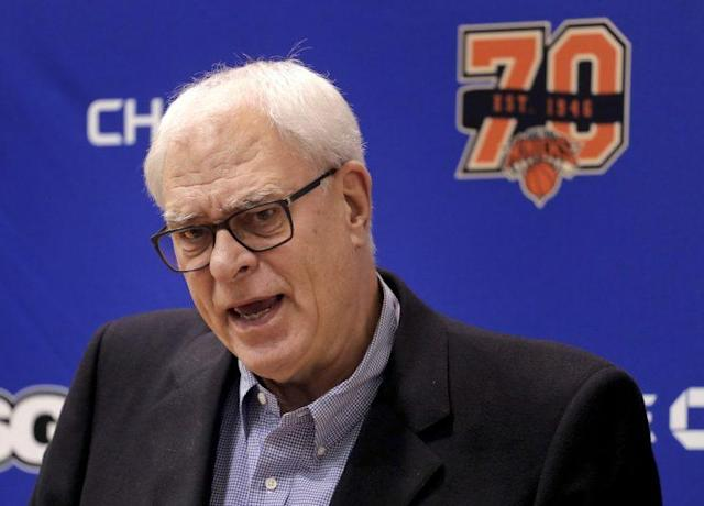 "Phil Jackson says he's listening to offers for <a class=""link rapid-noclick-resp"" href=""/nba/players/5464/"" data-ylk=""slk:Kristaps Porzingis"">Kristaps Porzingis</a>. (AP)"