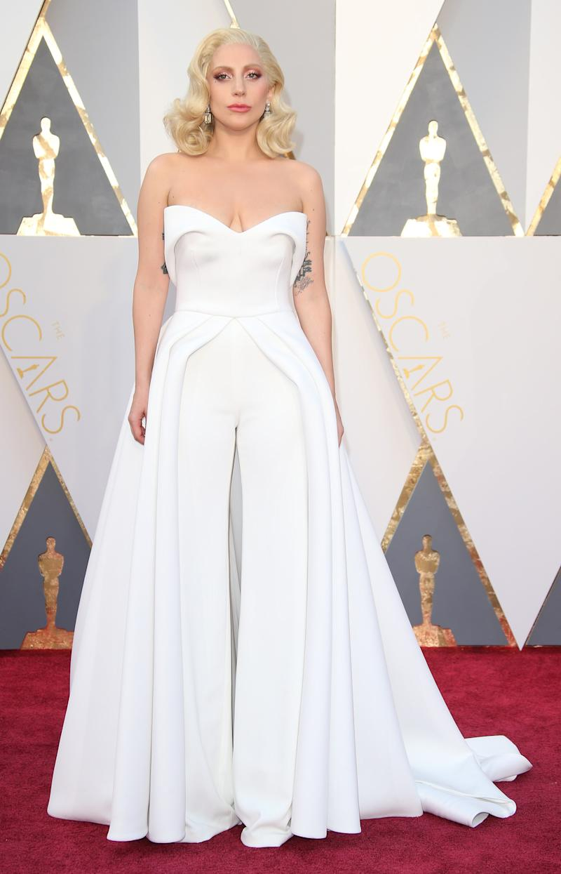 A vision in an ivory Brandon Maxwell jumpsuit for the Academy Awards.
