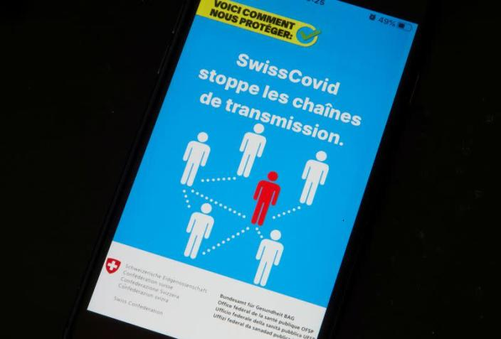 FILE PHOTO: The Swisscovid contact tracing application is seen in this illustration