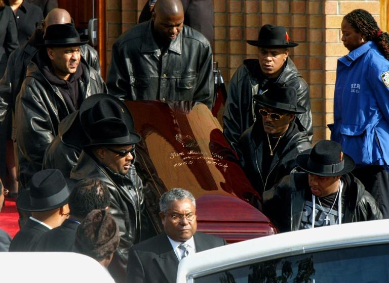 The coffin of Run-DMC's Jam Master Jay, the rapper born Jason Mizell, is carried out of a Queens Cathedral after his funeral on November 5, 2002