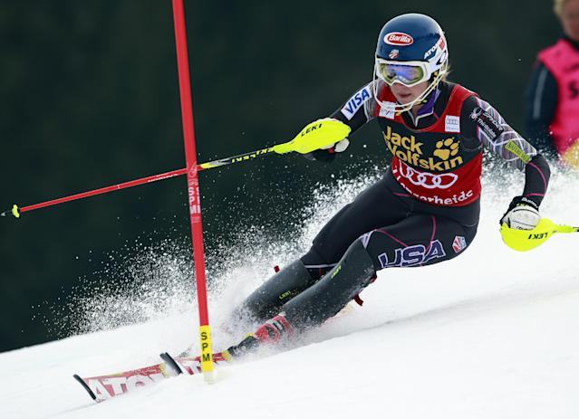 United States' Mikaela Shiffrin competes during an alpine ski, womens' World Cup slalom, at the World Cup finals in Lenzerheide, Switzerland, Saturday, March 15, 2014. (AP Photo/Shinichiro Tanaka)
