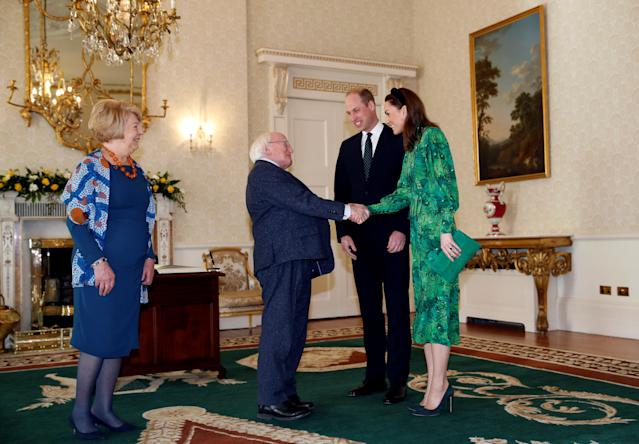 The Duke and Duchess of Cambridge meet the president at the official residence. (Press Association)