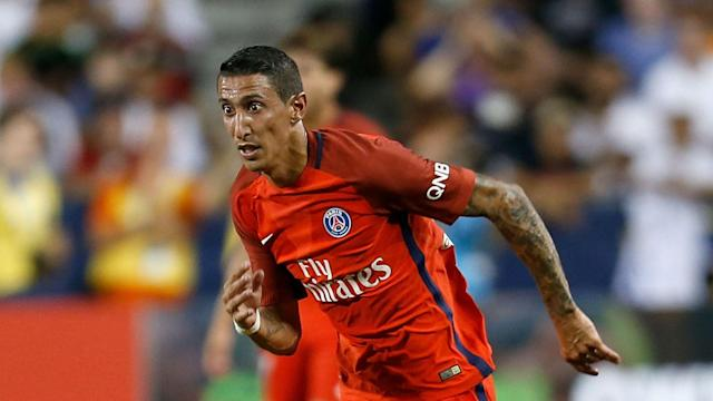 Angel Di Maria illuminated a drab PSG display as they laboured past Angers 2-0 to go level with Monaco on 74 points in Ligue 1.