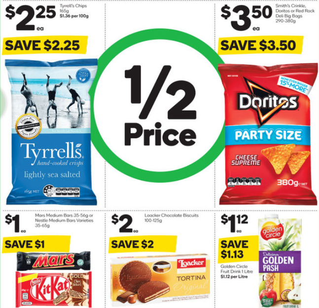 Chips, chocolates, biscuits and fruit drink on sale for half-price at Woolworths.