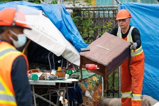 Following an eviction notice, the encampment was taken down on Tuesday morning. (Ivanoh Demers/Radio-Canada - image credit)