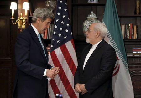 U.S. Secretary of State John Kerry meets with Iran's Foreign Minister Mohammad Javad Zarif in Manhattan, New York