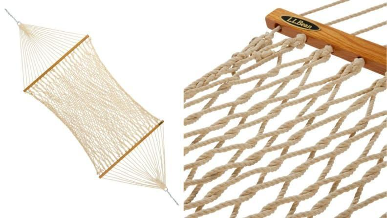 This durable rope hammock can withstand inclement weather.