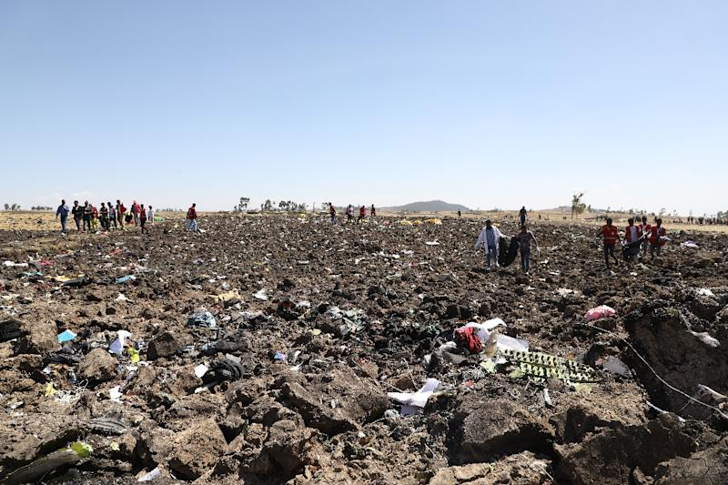 The scene of devastation where the Nairobi-bound Ethiopian Airlines plane came down (AFP Photo/Michael TEWELDE)