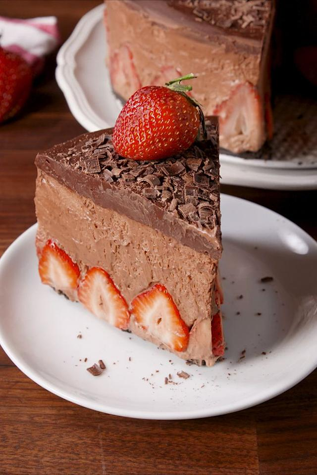 "<p>Get ready for the most decadent cake of your life.</p><p>Get the recipe from <a rel=""nofollow"" href=""https://www.delish.com/cooking/recipe-ideas/recipes/a58500/strawberry-chocolate-mousse-cake-recipe/"">Delish</a>.</p><p><strong><em>BUY NOW: Springform Pan, $22, <a rel=""nofollow"" href=""https://www.amazon.com/Calphalon-Nonstick-Bakeware-Spring-9-inch/dp/B008BULFWS/?tag=delish_auto-append-20&ascsubtag=[artid