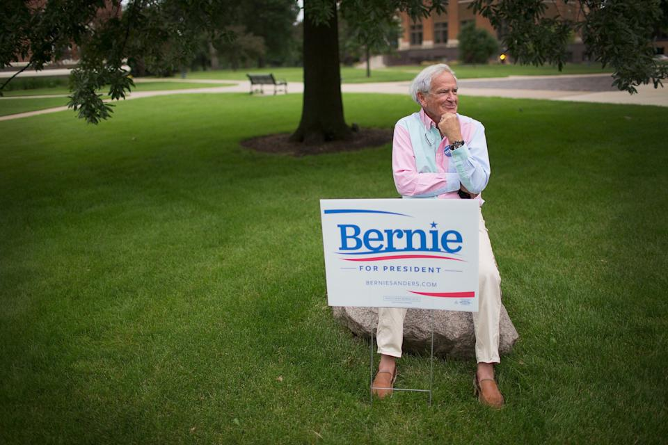 Richard Rarick shows his support as he waits for the start of a campaign event for Sen. Bernie Sanders at Drake University on June 12, 2015 in Des Moines, Iowa.