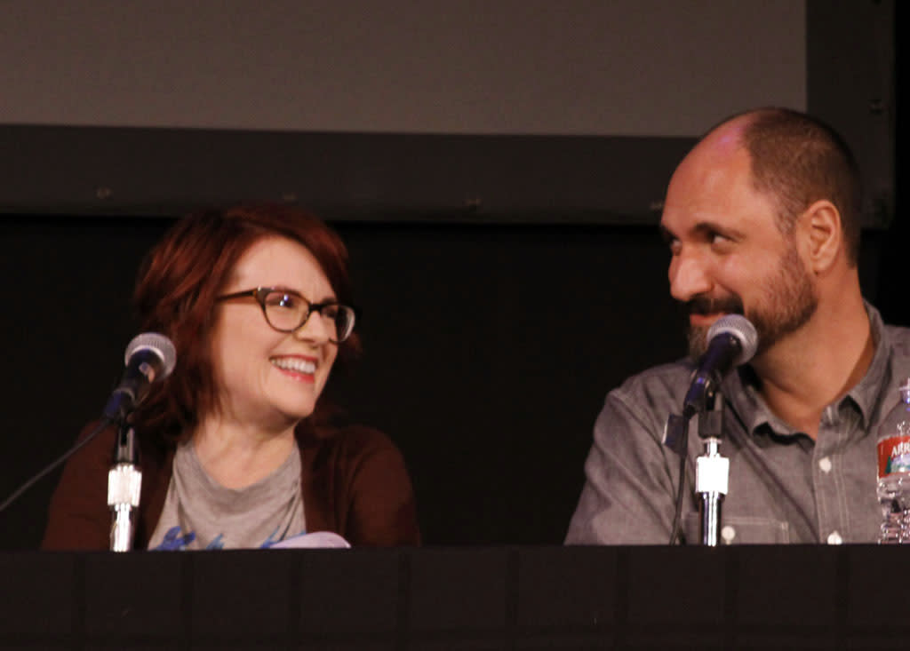 "Surprise guest and cast member Megan Mullally and ""Bob's Burgers"" Creator and Executive Producer Loren Bouchard on stage during ""Bob's Burgers Live!"" at the WIlshire Ebell Theatre on Tuesday, May 7 in Los Angeles, CA."