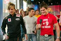 <p>Boy band BBMak visited the <b>TRL</b> studio in NYC in 2002.</p>