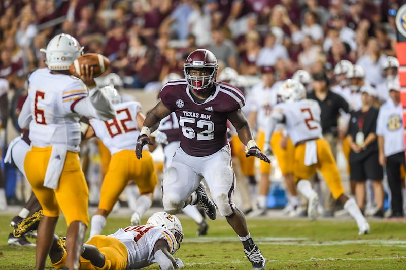 COLLEGE STATION, TX - SEPTEMBER 15: Texas A&M Aggies defensive lineman Justin Madubuike (52) rushes in during the game between the Louisiana Monroe Warhawks and the Texas A&M Aggies on September 15, 2018, at Kyle Field in College Station, TX. (Photo by Daniel Dunn/Icon Sportswire via Getty Images)