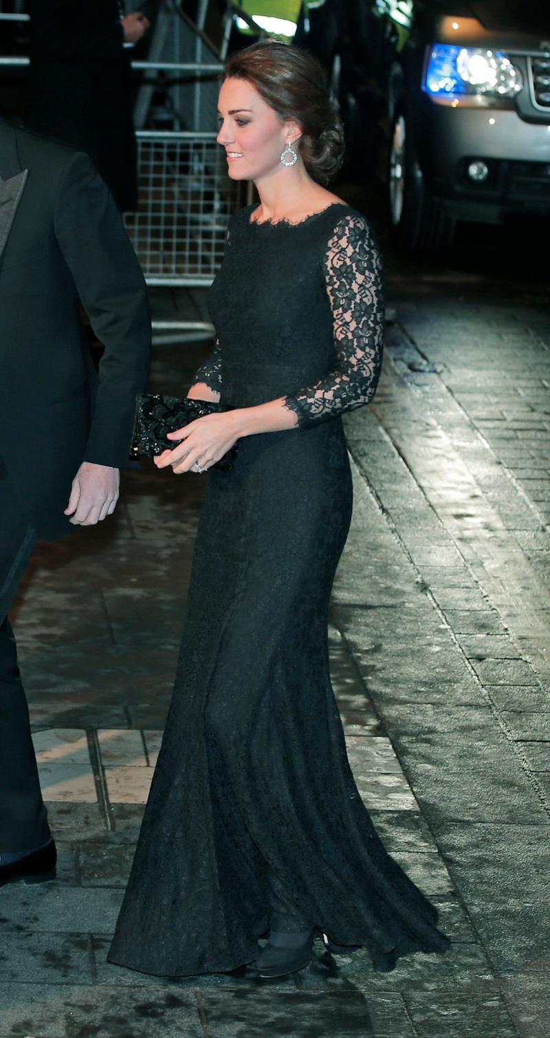 Kate attended the Royal Variety Performance on November 13, 2014 wearing an elegant black lace gown by American designer Diane Von Furstenberg.