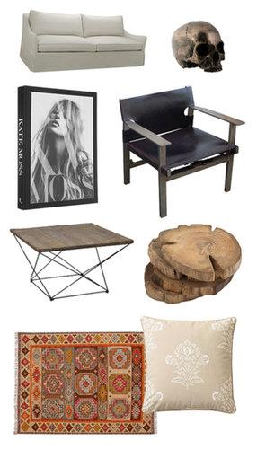 Williams-Sonoma Terrence Sofa ($2,395-$2,695), Bronze Skull Head ($32), Kate Moss hardcover book ($85), Brenton Metal and Wood Mid-Century Chair ($1,699), Angled Base Coffee Table ($499), Teak Wood Coasters ($24), Karter Kilim Rug ($59-$799), and White/Putty Jaipur Pillow Cover ($64)