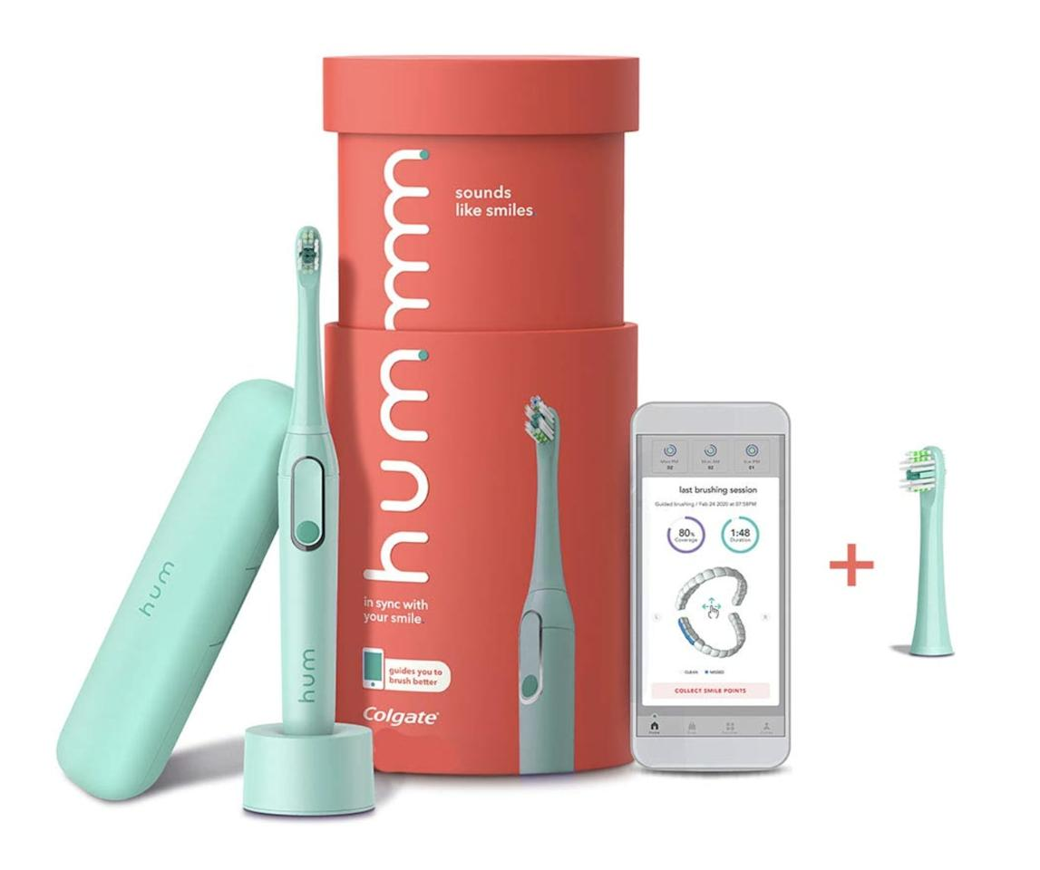 """<p>If you want the benefits of an electric toothbrush with a more aesthetically pleasing look, the <product href=""""https://www.amazon.com/Colgate-Electric-Toothbrush-Rechargeable-Replacement/dp/B0899831LM/"""" target=""""_blank"""" class=""""ga-track"""" data-ga-category=""""internal click"""" data-ga-label=""""https://www.amazon.com/Colgate-Electric-Toothbrush-Rechargeable-Replacement/dp/B0899831LM/"""" data-ga-action=""""body text link"""">Hum by Colgate Smart Electric Toothbrush Kit</product> ($59, originally $85) is the option for you. It's available in two pretty pastel colors - teal or periwinkle - and comes with a matching carrier case.</p>"""