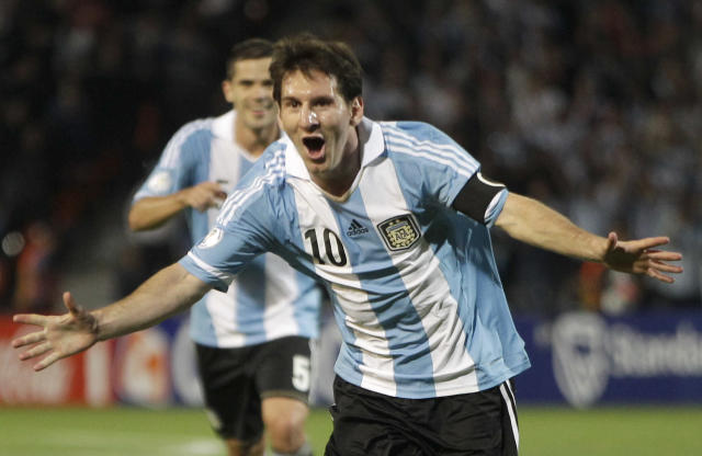 FILE - This is a Friday, Oct. 12, 2012 file photo of Argentina's Lionel Messi as he celebrates after scoring against Uruguay during a World Cup 2014 qualifying soccer match in Mendoza, Argentina. (AP Photo/Eduardo Di Baia, File)