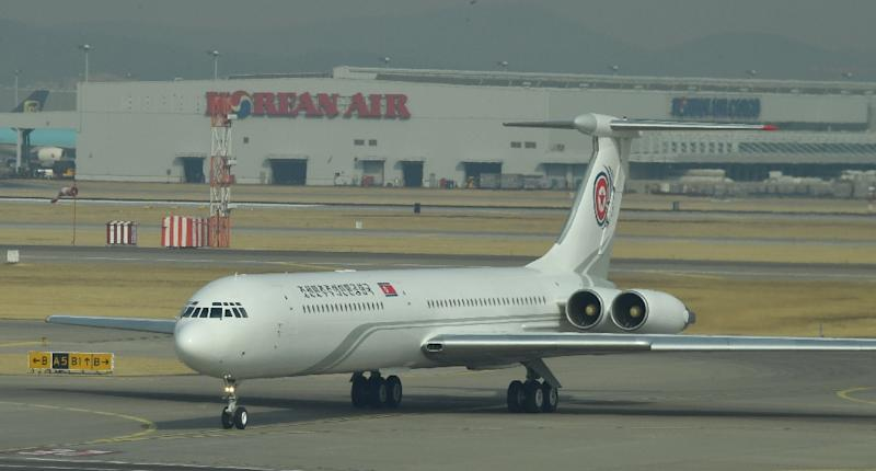 A North Korean Ilyushin-62 plane pictured at South Korea's Incheon airport in February after arriving with a high-level delegation (AFP Photo/-)