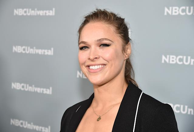 Ronda Rousey denied rumors this week that she was planning to leave the WWE to start a family. (Theo Wargo/Getty Images)