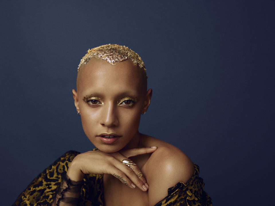 Jazelle Zanaughtti gives a gilded look in the ASOS Face + Body campaign. (Photo: ASOS)