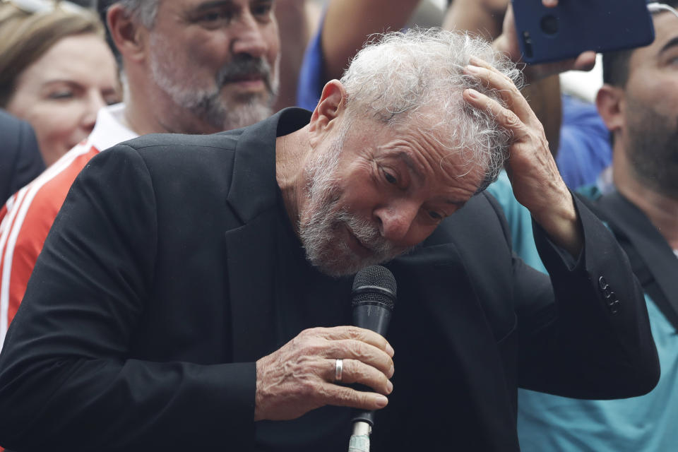 "Former Brazilian President Luiz Inacio Lula da Silva speaks to supporters during a rally at the Metal Workers Union headquarters, in Sao Bernardo do Campo, Brazil, Saturday, Nov. 9, 2019. Da Silva addressed thousands of jubilant supporters a day after being released from prison. ""During 580 days, I prepared myself spiritually, prepared myself to not have hatred, to not have thirst for revenge,"" the former president said.(AP Photo/Nelson Antoine)"