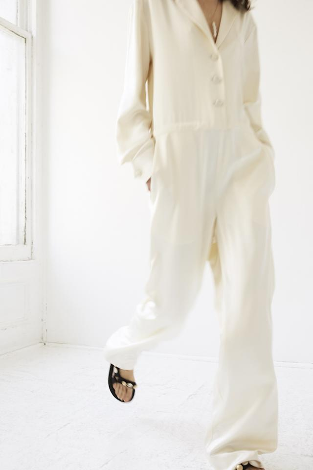 """Jumpsuit by <a rel=""""nofollow"""" href=""""https://www.brides.com/gallery/new-lein-wedding-dresses-fall-2019?mbid=synd_yahoo_rss"""">Lein</a>"""