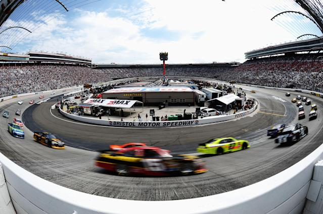 BRISTOL, TN - MARCH 18: Clint Bowyer, driver of the #15 5-hour Energy Toyota, races during the NASCAR Sprint Cup Series Food City 500 at Bristol Motor Speedway on March 18, 2012 in Bristol, Tennessee. (Photo by Jared C. Tilton/Getty Images)